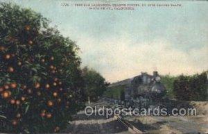 The Orange Groves,CA, USA Train Locomotive  Steam Engine 1909 postal used 1909