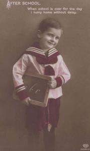 After School Learn To Read Antique ABC Blackboard Social History Postcard