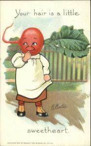 TUCK Curtis Garden Patch Vegetable Head Fantasy Radish 1907 Postcard EXC COND