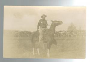 Mint Real Picture Postcard Cowboy Horseback Spokane Washington RPPC