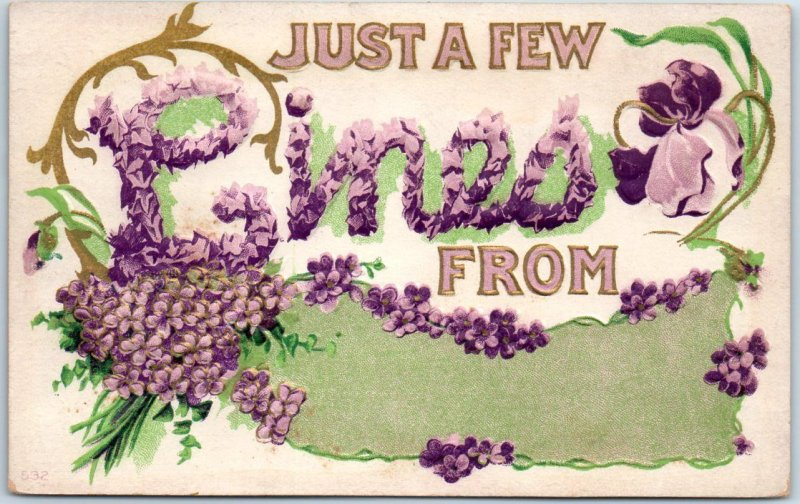 1910s Large Letter Greetings Postcard Just a Few Lines From (Blank) - UNUSED