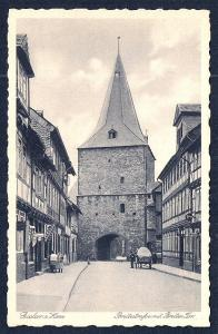 Broad Street w/Gate Goslar Germany Real Photo unused c1920's