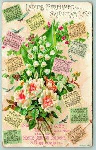 Lowell Massachusetts~EW Hoyt & Co~German Cologne~1890 Ladies Flower Calendar~VTC