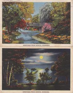 (2 cards) Greetings from Geneva NE, Nebraska pm 1940