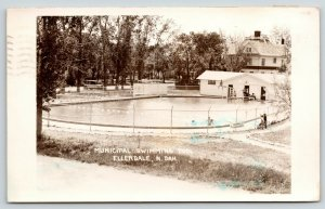 Ellendale North Dakota~City Swimming Pool~Bath House~Vintage Car~Home~1941 RPPC