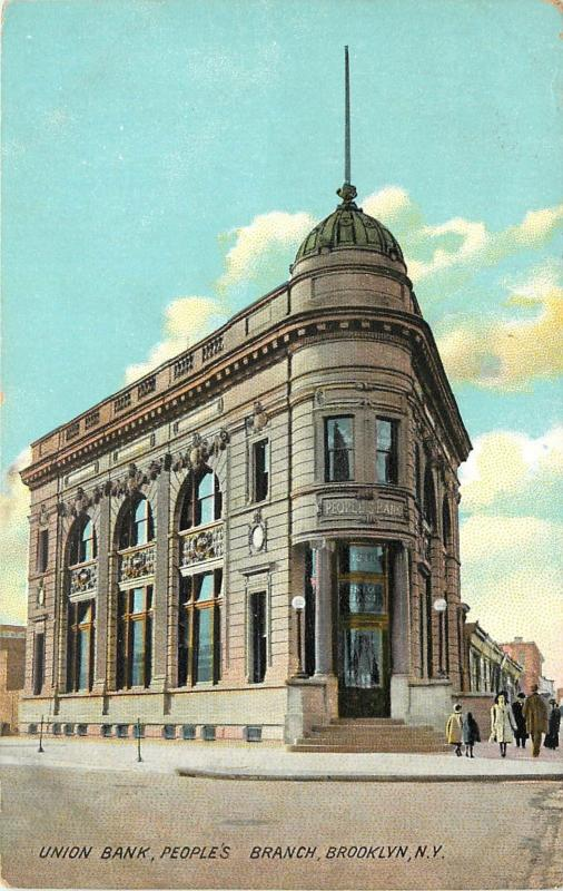 Chromograph Postcard; Union Bank, People's Branch, Brooklyn NY Long Island