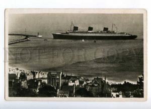190897 FRANCE HAVRE ship NORMANDIE LIGHTHOUSE Vintage postcard