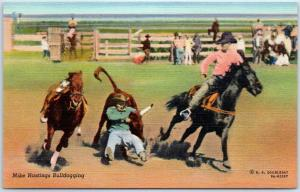 1940s Cowboy RODEO Postcard Mike Hastings Bulldogging Curteich Linen Unused
