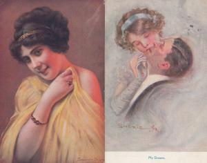 My Dreams Woman On Top & Polish 2x Old Glamour Postcard s