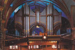 Interior View, Church Organ Pipes, Notre Dame Basilica, Montreal, Quebec, Can...