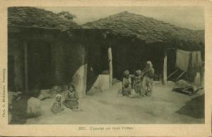 Gipsies Gypsy Romani, Women and Children in Front of their Huts (1915)