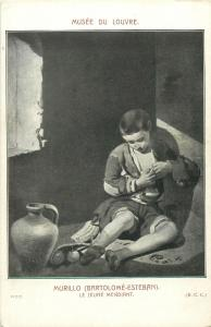 Early art postcard young beggar by Murillo