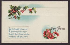 A Merry Christmas,Holly,Poinsettia Postcard