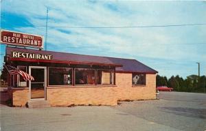 St Ignace Michigan~Blue Waters Restaurant~Flag~Postcard Rack Window~Homer Smith