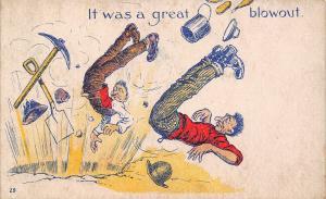 Comic Pun~It Was a Great Blowout~Mine Explosion~Men Blown Backwards~1908 PC