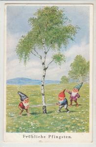 Germany 1937 Pentecost greetings postcard comic dwarfs gnomes caricature