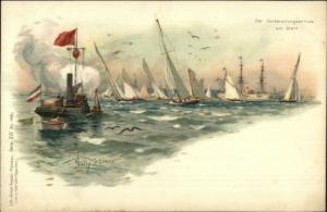 Sailing Sailboat Yacht Races Germany - Willy Stower ANSTALT LITHO c1900 Postcard
