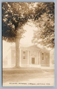 ASHFIELD MA BELDING MEMORIAL LIBRARY 1919 ANTIQUE REAL PHOTO POSTCARD RPPC