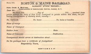 c1900s BOSTON & MAINE RAILROAD Postcard Nursery Stock Report Albany NY UNUSED