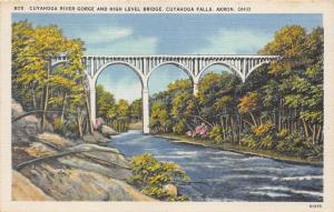 Akron Ohio~Cuyahoga River Gorge & High Level Bridge~Rocky Shore~1940s Linen Pc