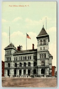 Albany New York~Post Office~Lots of People in Front~Flag on Roof~c1910