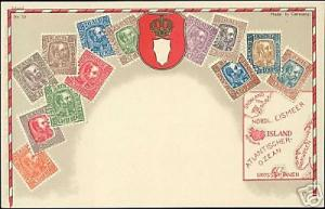 Iceland, STAMP Postcard, Coat of Arms, Map (1910s)