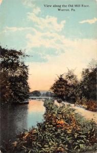 Warren Pennsylvania Old Mill Race Scenic View Antique Postcard J75254