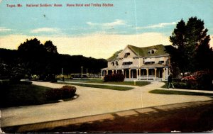 Maine Togus National Soldiers Home The Home Hotel and Trolley Station 1911