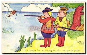 Old Postcard Fantasy Humor Hunting Fish Hunter