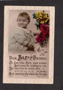 Joy on Baby's Birthday Greetings Postcard Flowers Poem Rotary Photo Postcard