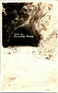 Vtg Postcard RPPC SSSS 1920s Cave At Pictured Rock Michigan
