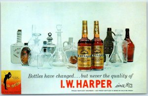 Vintage Chrome Advertising Postcard I.W. HARPER WHISKEY c1950s Unused