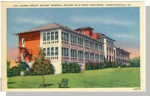 Charlottesville, Virginia/VA Postcard,Masonic Blg/Sanatorium