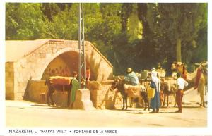 Israel Old Vintage Antique Post Card Nazareth Mary's Well, Fontaine de l...