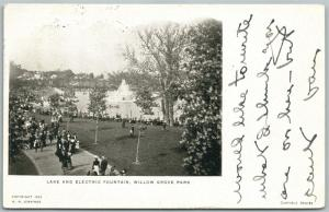 WILLOW GROVE AMUSEMENT PARK PA LAKE & ELECTRIC FOUNTAIN 1905 ANTIQUE POSTCARD