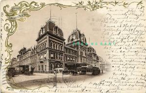 1908 New York Souvenir Card: Horse-Drawn Streetcar by Grand Central Depot