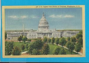 Postcard US Capital from the Library Washington, D C   #   249