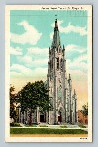 St Marys PA-Pennsylvania Sacred Heart Church Vintage Postcard
