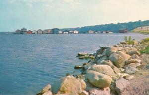 Geneva NY, New York - Long Pier Boathouses and Fishing Shacks on Seneca Lake