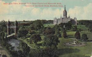 Bird´s-Eye view, Bushnell Park, State Capitol and Memorial Arch, Hartford, C...
