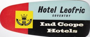 England Coventry Leofric Ind Coope Hotel Vintage Luggage Label lbl0271