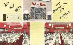 Fan and Bill's Restaurant, Washington, D.C., Early Linen Postcard, Unused