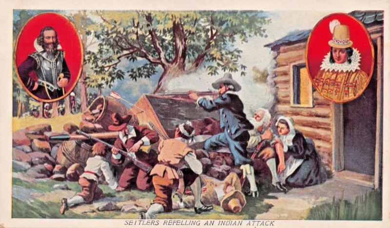 JAMESTOWN  VIRGINIA~SETTLERS REPELLING AN INDIAN ATTACK POSTCARD 1910s