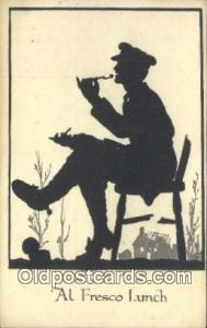 Silhouette Postcard Post Card Old Vintage Antique