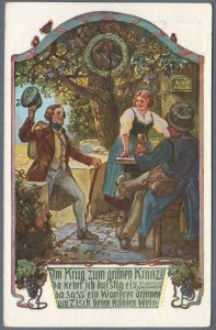 German Folk Song Old Postcard ~ Im Krug zum Gruenen Kranze ~
