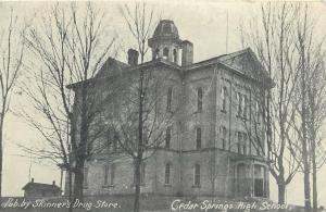 Cedar Springs MI Open Belltower @ High School~Skinners Drug Store Publisher~1908