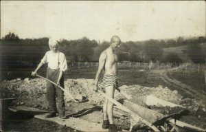 Men Work Labor Being Silly? Shirtlesss Bonnet Unusual Shorts Clothing RPPC
