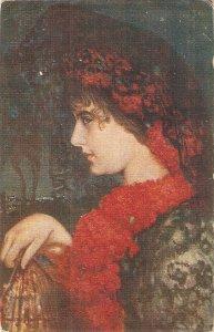 J.Pinazo Martinez. Pretty lady. Red carmations Fine painting, nice Spanish PC