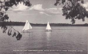 WINTHROP, Maine; Sailing on Lake Cobbosseecontee, Maine State Y.M.C.A, Camp, ...