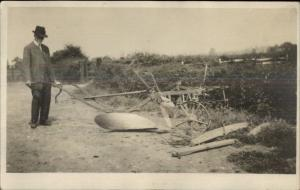 Lincoln England John Evens Farm Man w/ Plow 1912 Real Photo Postcard